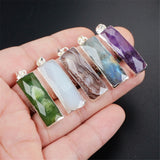 925 Sterling Silver Rectangle Natural Multi-kind Stone Pendant SS157