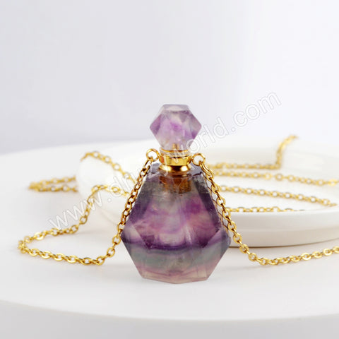 Genuine Colorful Fluorite Perfume Bottle Necklace Gold PB001-N