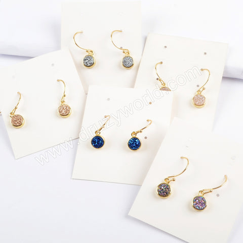 9mm Round Gold Plated Natural Agate Titanium Rainbow Druzy Earring Stud ZG0357-E