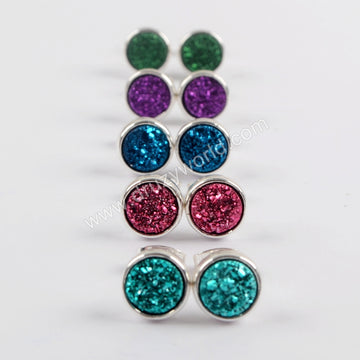 8mm Round Natural Agate Titanium Rainbow Silver Druzy Geode Stud Earrings  ZS0328