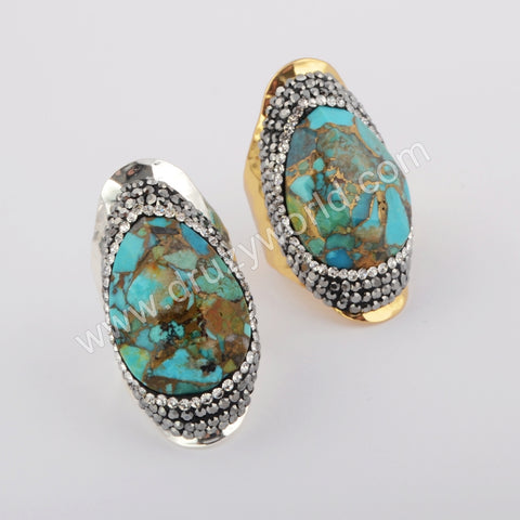Tear Drop Gold Plated Rhinestone Pave Natural Gold-Line Turquoise Ring JAB958