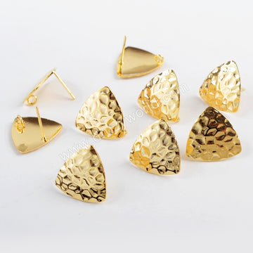 Triangle Shape Gold Plated Brass Earrings With Bail PJ094