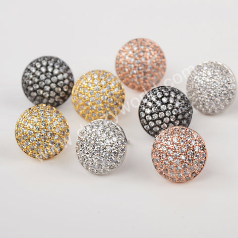 CZ Micro Pave Stud Earrings Women Jewelry Gold Plated WX1391