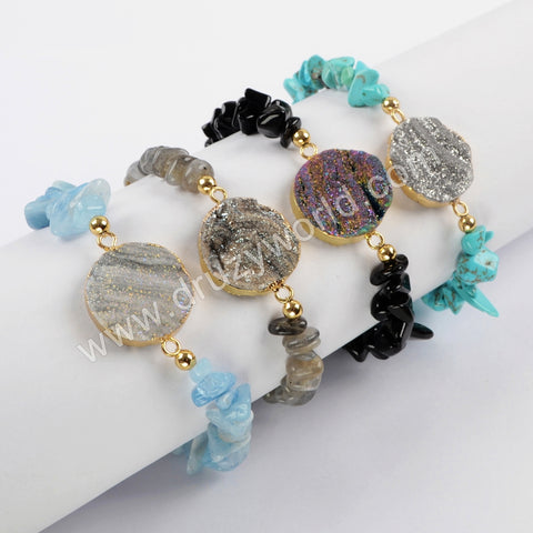 Gold Plated Round Titanium Rainbow Galaxy With Multi Stones Chips Yoga Bracelet G1633