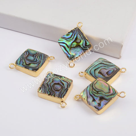 Diamond Gold Plated Abalone Shell Connector G1852