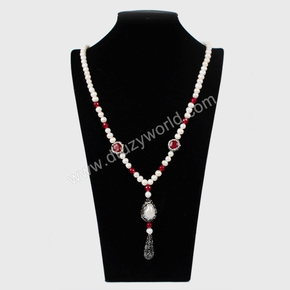 Rhinestone Pave Round Drop Dangle Beads Natural Pearl Necklace JAB786