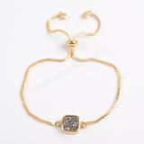 Gold Plated Bezel Square Titanium Druzy Adjustable Bracelet ZG0222