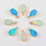 Teardrop Gold Plated White Opal Charm G1468