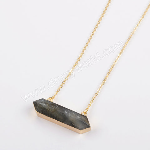 Hexagon Gold Plated Natural Labradorite Faceted Connector Necklace G1869