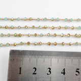 5m/lot,3mm Yellow & Blue Glass Beads Chains  JT168