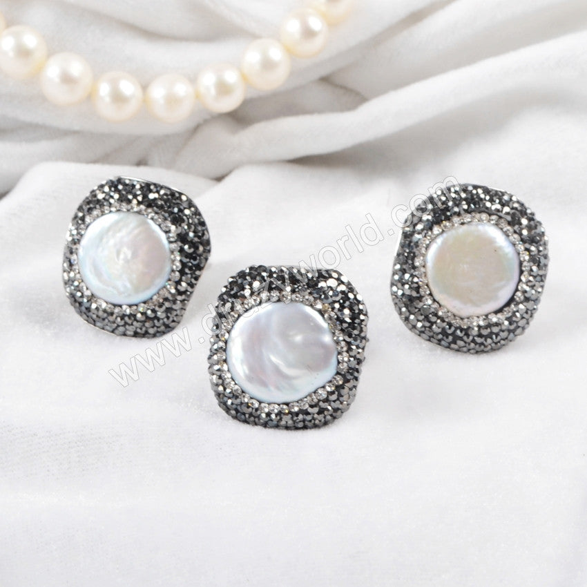 Silver Plated Round Pearl Paved Zircon Ring JAB328