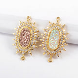 CZ Micro Pave Crystal Man-made Druzy Gold Connector WX890