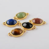 Natural Multi-kind Stones Fashion Jewelry Connector Gold Plated WX1297