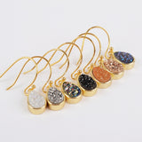 Gold Plated Bezel Teardrop Rainbow Titanium Druzy Charm Earrings ZG0162