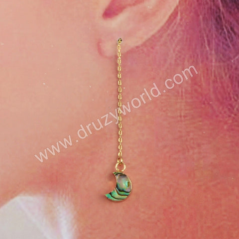 Gold Plated Abalone Moon Threader Dangle Chain Earrings  G1885-E