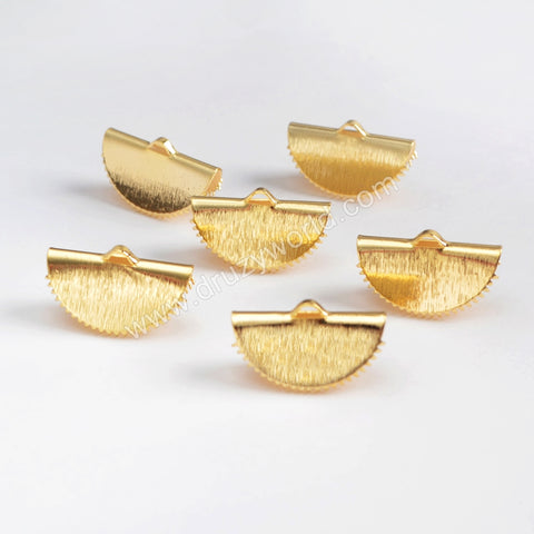 Half Moon Shape Gold Plated Brass Clip Cord Flat Crimp End Clasp PJ095