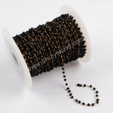 5m/lot,3mm Black Glass Beads Chains  JT169