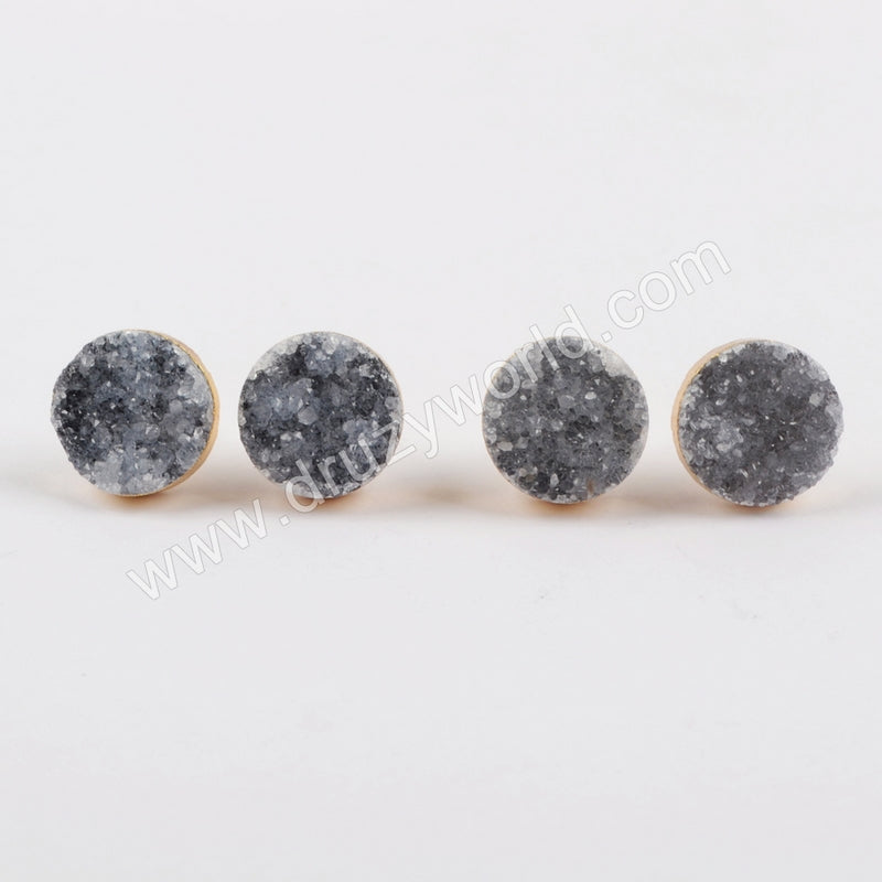 12mm Round Natural Druzy Studs CL272