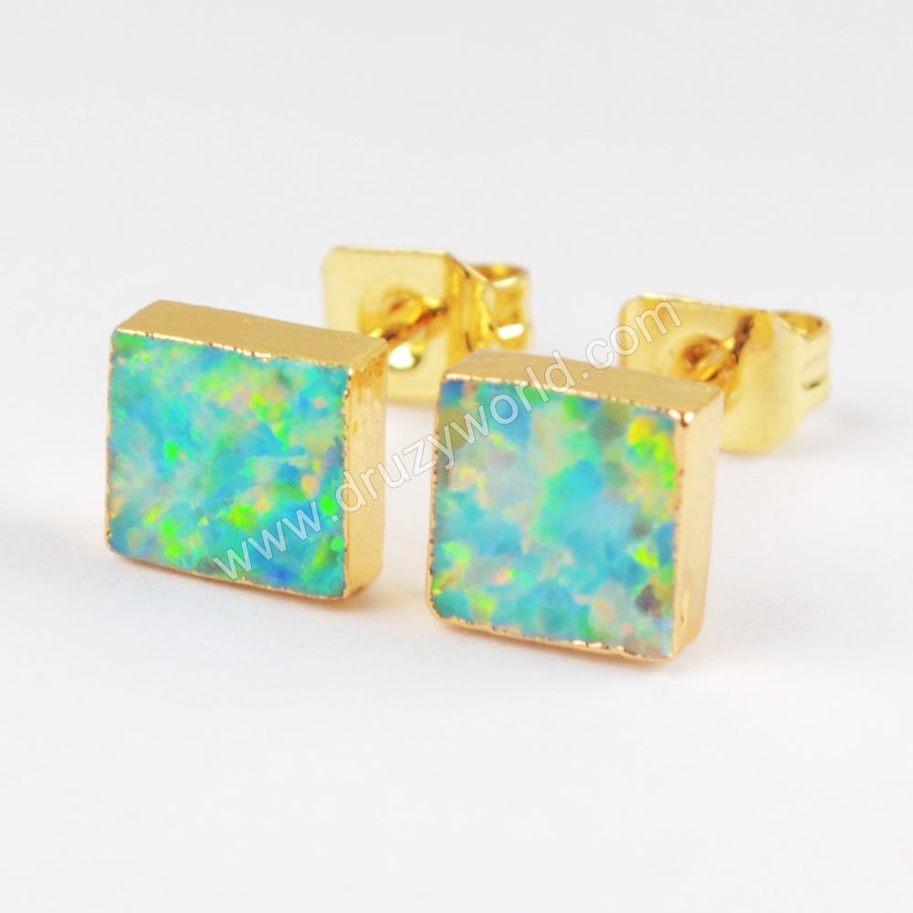 Gold Plated Square White Opal Studs G1425