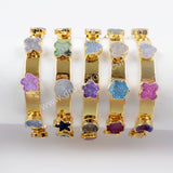 Gold Plated Seven Rainbow Multi Shaped Druzy Bracelet G1554