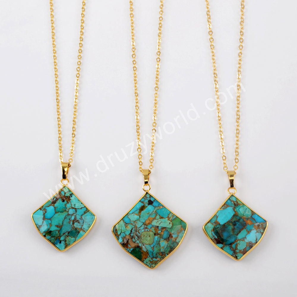 "18"" Turquoise Necklace Fashion Jewelry For Women Gold Plated G1950-N"