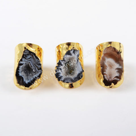 Gold Plated Natural Agate Druzy Open Band Ring G1388