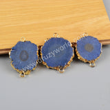 Gold Plated AB Color Titanium Solar Quartz Connector G1188