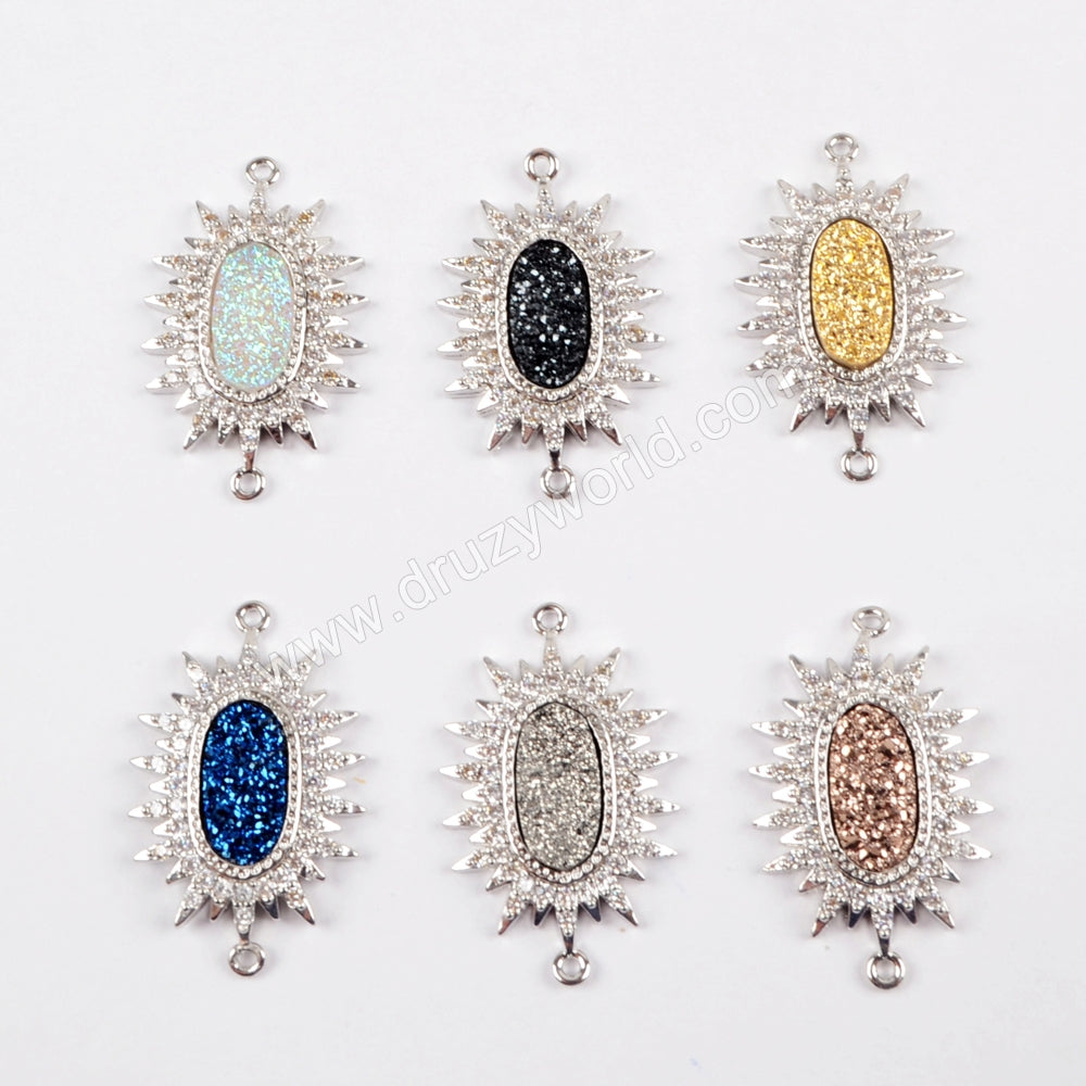 CZ Micro Pave Crystal Man-made Druzy Silver Connector WX891