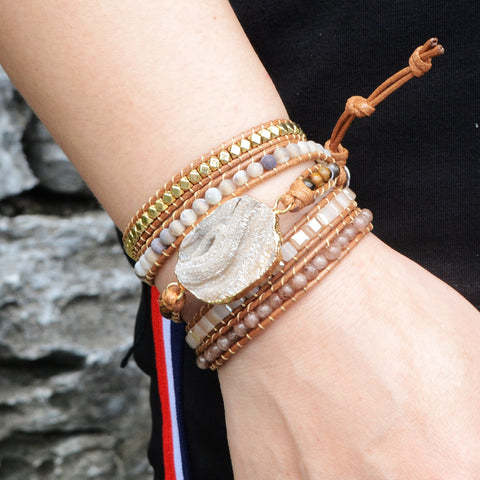 Boho Gold Plated Natural Druzy Stone Beads Bracelet Vintage Leather Wrap Bracelet  HD0048