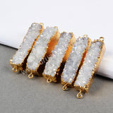 Gold Plated Rectangle Natural Agate Titanium AB Druzy Connector G0501