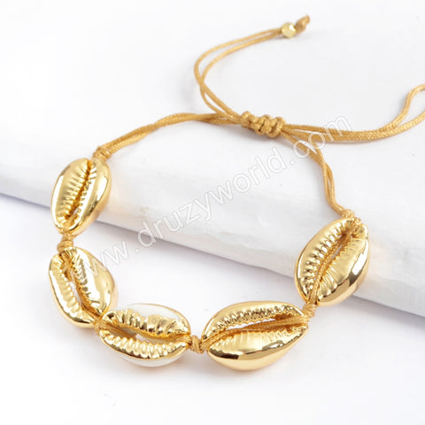 Pure Handmade Five Narural Cowrie Shell Adjustable Rope Bracelet HD0002
