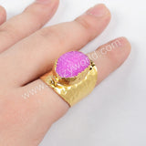 Gold Plated Rainbow Agate Druzy Band Ring G0341