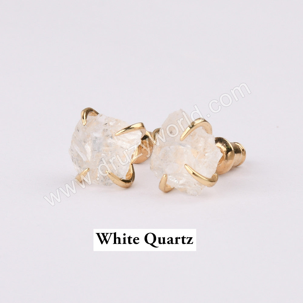 Tiny Gold Natural Stone Claw Stud Earrings ZG0446