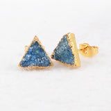 Gold Plated  Colorful Triangle Agate Druzy Stud Earrings G0432