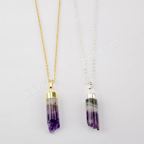 Natural Amethyst Pendant Gold Plated Necklace WX1505-N