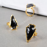 Gold Plated Arrowhead Rough Black Obsidian Arrowhead Ring