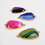 Gold Plated Drop Rainbow Onyx Agate Druzy Geode Faceted Connector G0375