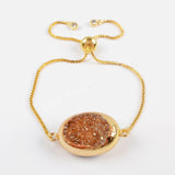 Gold Plated Double Sided Titanium Silver Champagne Druzy Adjustable Bracelet G1527