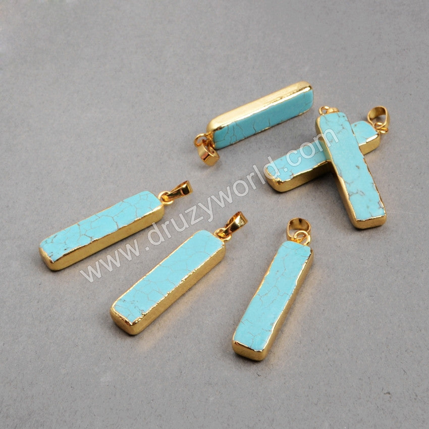 Gold Plated Rectangle Howlite Turquoise Bar Pendant Bead G0453