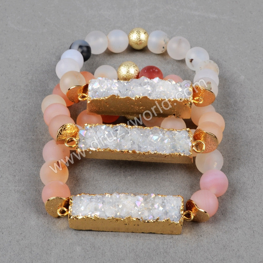 Gold Plated Natural Rectangle Titanium Agate Druzy Bracelet With 10mm Natural Rainbow Frosted Agate Beads G0608