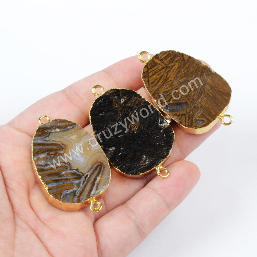 Gold Plated Natural  Bronzite Druzy Geode Slice Connector G0987