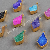 Drop Rainbow Natural Agate Druzy Geode Charms Gold Plated G0259