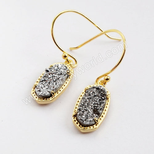 Gold Plated Claw Hexagon Rainbow Titanium Druzy Earrings ZG0343