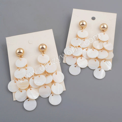 Gold Round White Shell Earring WX1083
