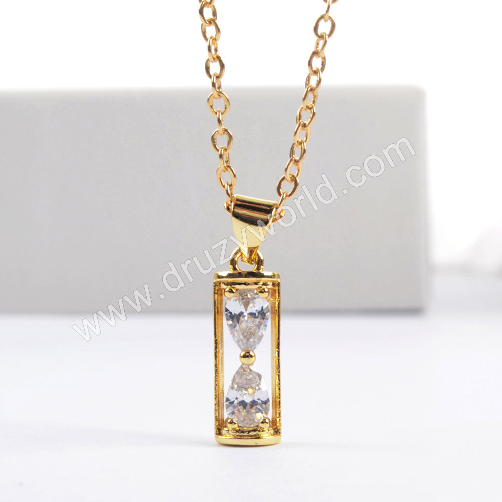 "16"" Gold Plated CZ Pave Faceted Sand Clock Necklace WX1582"