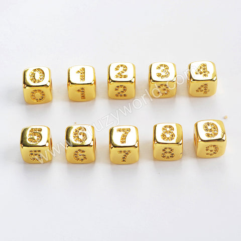 CZ Micro Pave Number Beads For Jewelry Making Gold Plated WX1334
