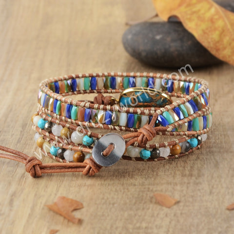 Hand Made Gypspy Bohemian Leather Gemstone Beaded Wrap Bracelet HD0111
