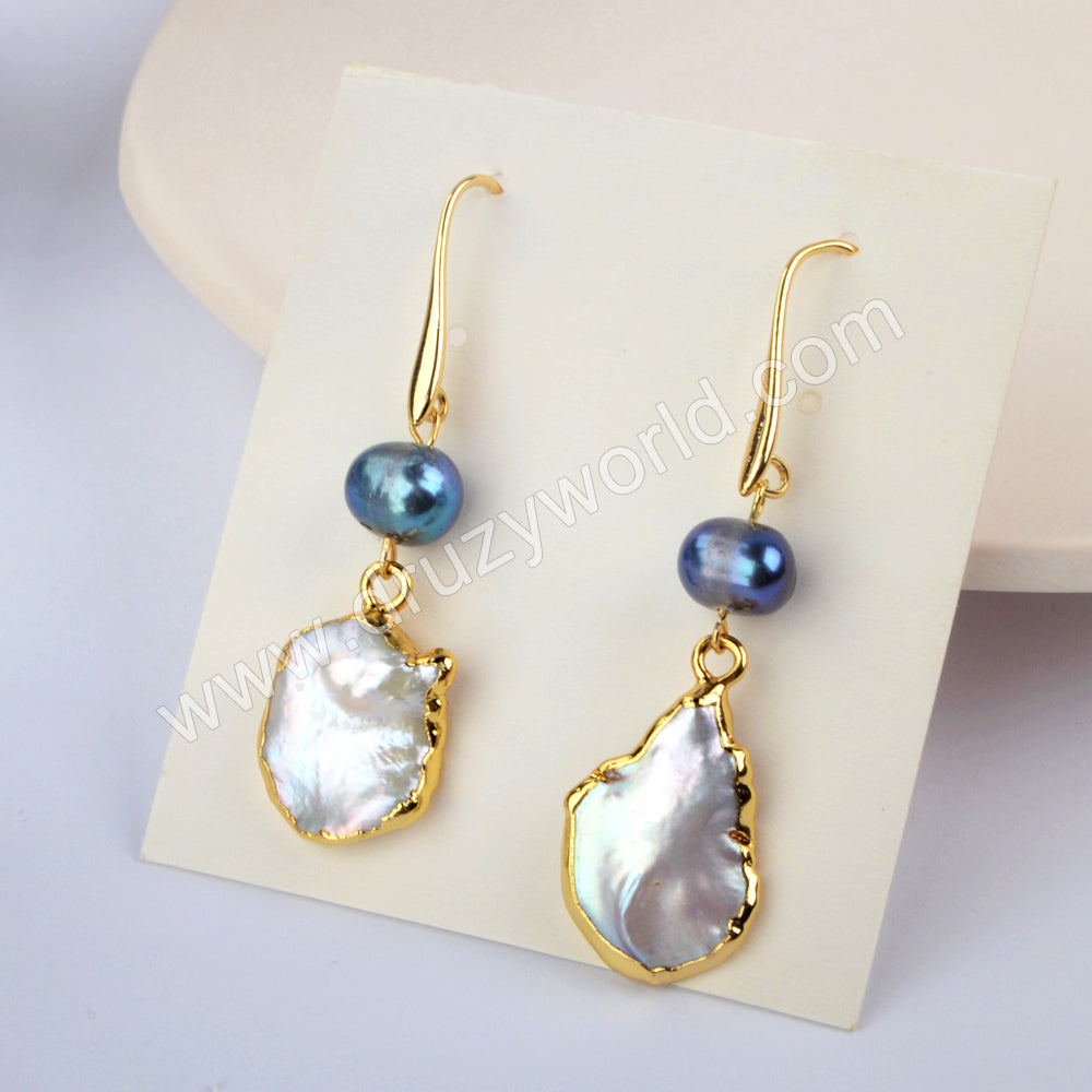 Natural Pearl Earrings Fashion Earrings For Women Gold Plated HD0189