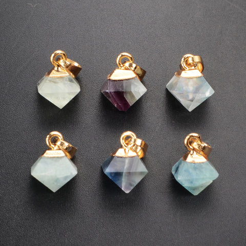Multi-Color Fluorite Faceted Pyramid Points Small Pendant Gold Plated WX059