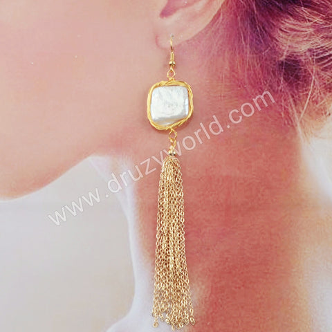 Natural Pearl Wire Wrap Tassel Earrings WX1213